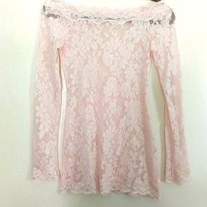 Victoria's Secret Semi Sheer Tunic off shoulder lace top
